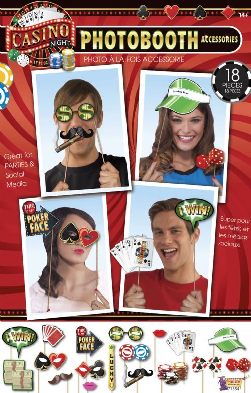 Casino Photobooth Kit 18pc Gambling Poker Vegas Party Favour